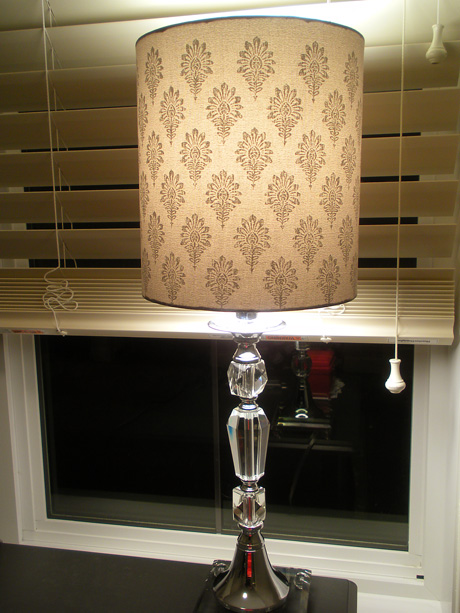 Grey damask crystal lamp