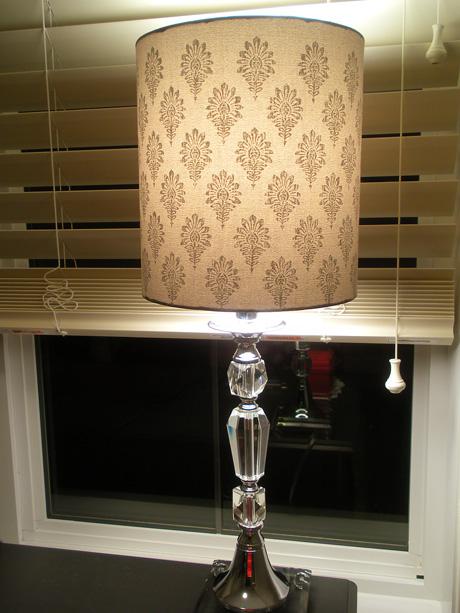 Grey damask crystal lamp