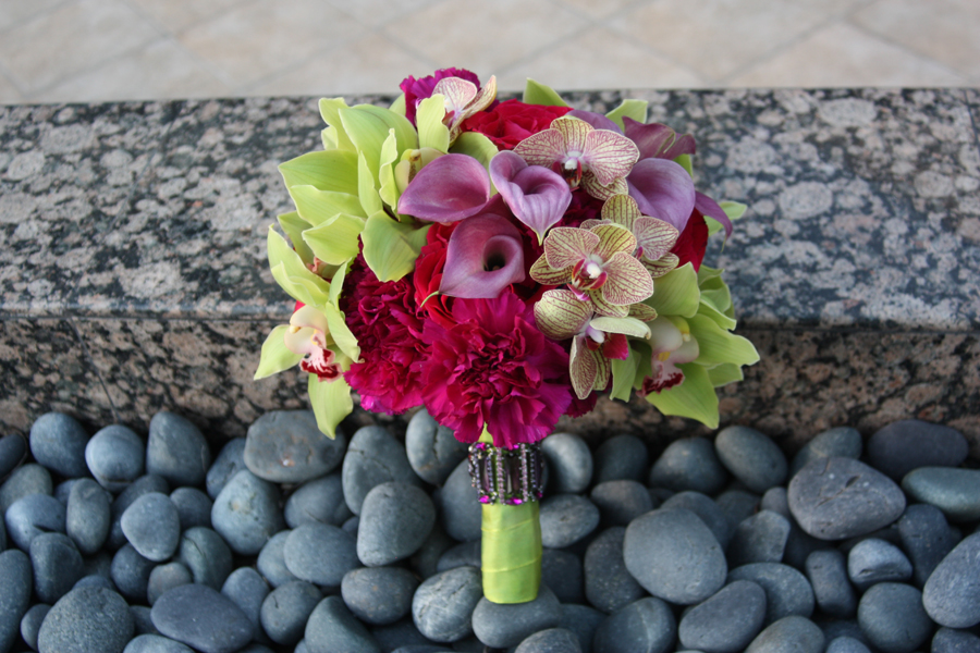 fuschia pink and green orchid bouquet