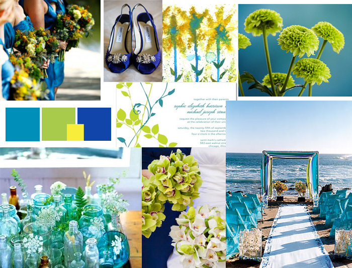 blue green and yellow wedding details Photo credit Classic Bride blog