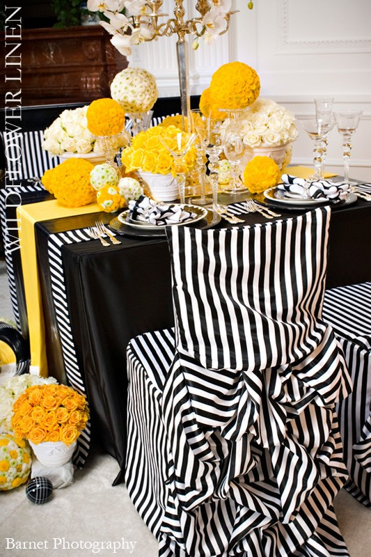 black and white striped linens wildflower linens