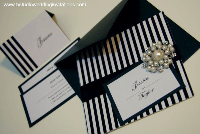 Black And White Striped My Fair Lady Wedding Invite