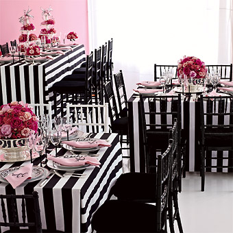 black and white striped reception decor
