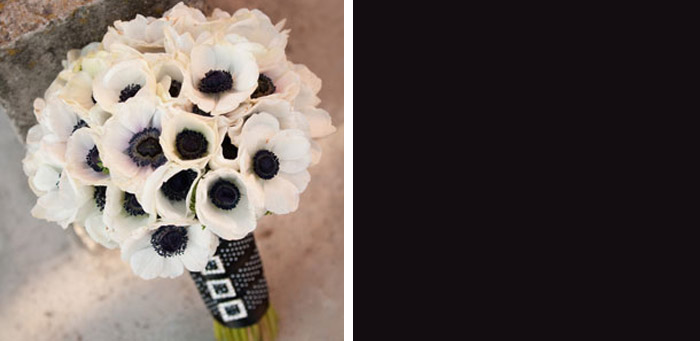 white and black bridal bouquet Photo credit Ambiance Floral via Wedding