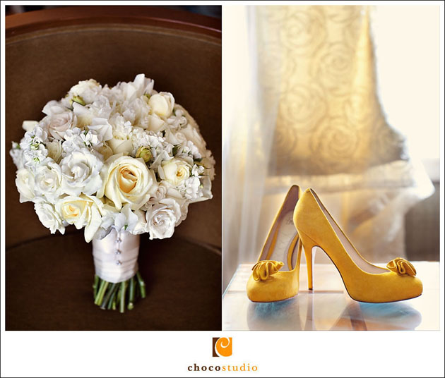 bouquet with the prettiest soft yellow roses ever and cute yellow heels