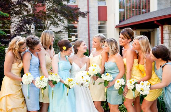 baby blue and yellow bridesmaids · Calgary Wedding Planners | Banff ...