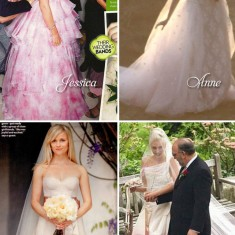 celebrity pink wedding dresses