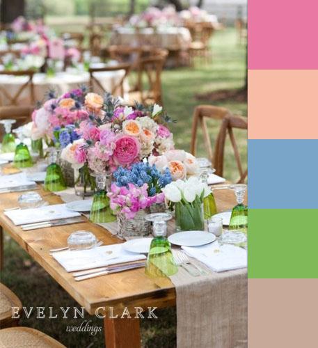 Blue Pink Peach Green Wood Wedding