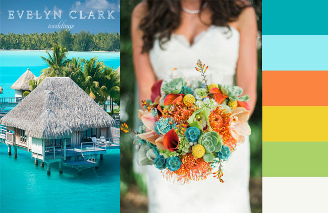 Teal Green Orange Wedding