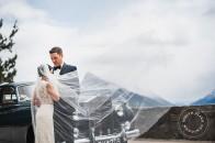 Banff wedding | Banff bride | Reem Acra | Evelyn Clark Weddings