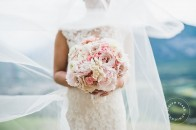 Pink and white peony orchid rose bouquet | Banff bride | Mountain wedding | Evelyn Clark Weddings