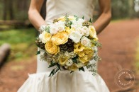 Yellow white green rustic bouquet | Banff wedding planner | Evelyn Clark Weddings