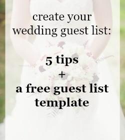 Wedding guest list template free download | Calgary weddings | Evelyn Clark Weddings