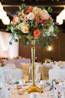 coral green gold ivory wedding reception Hotel Arts