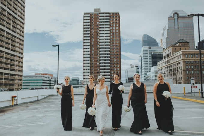 Fairmont Palliser Calgary wedding_black white bridesmaids