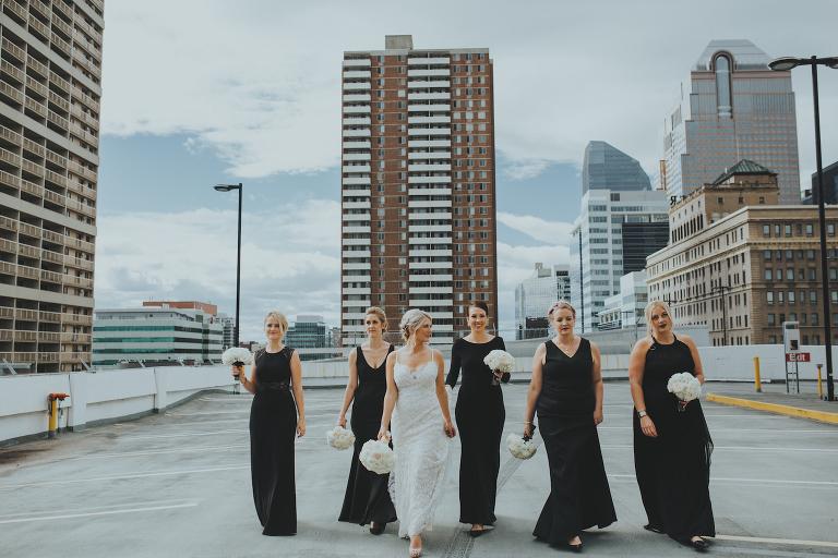 Fairmont Palliser Calgary wedding_black white bridesmaids