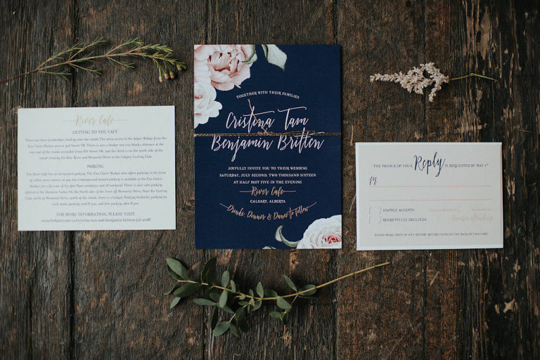 Blush, navy, gold, greenery | Rustic glam wedding in Calgary, AB at River Cafe by Evelyn Clark Weddings